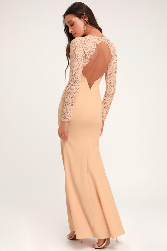 e61f1f59c8bd Lovely Blush Lace Dress - Lace Maxi Dress - Long Sleeve Maxi