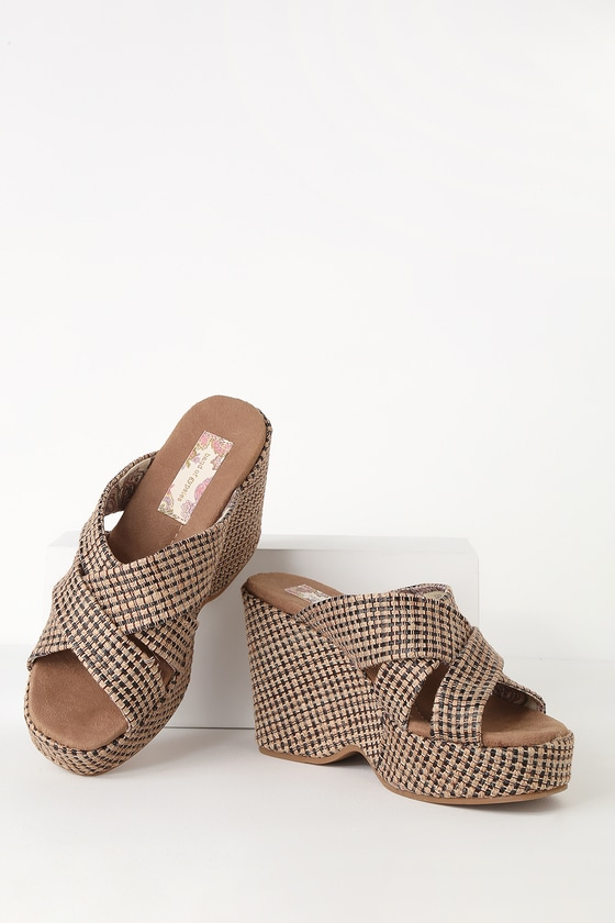 Sandals Tan Sage And Jute Wedge Black Woven Platform gIb7ymf6Yv