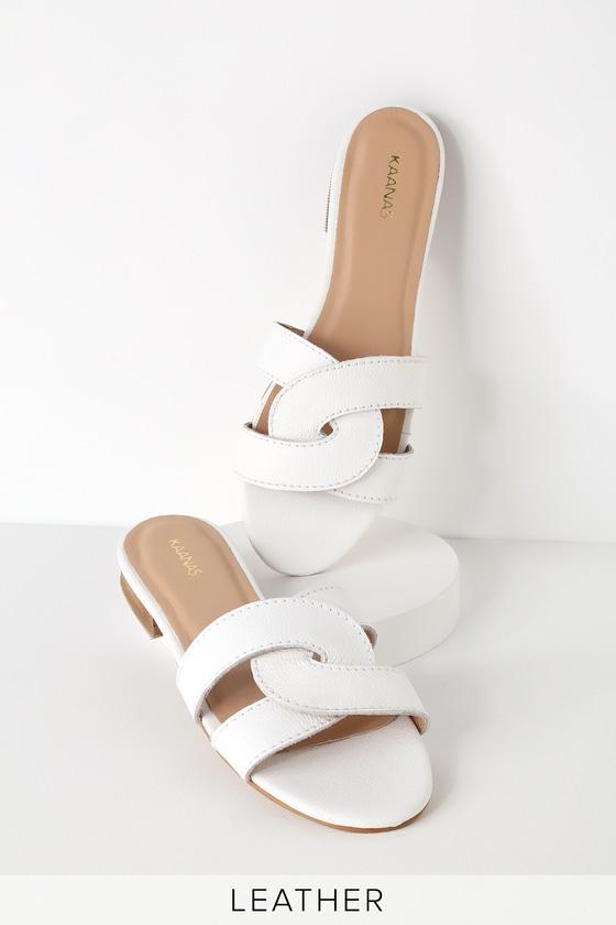 1809da117 KAANAS Santorini - White Leather Sandals - Slide Sandals