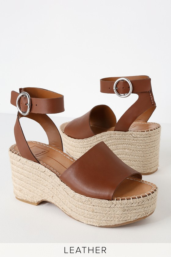 3d2911b2f34 Lesly Brown Leather Espadrille Wedges