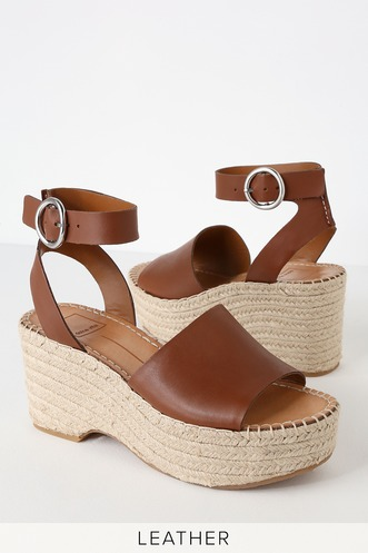 412257d5bc39 Lesly Brown Leather Espadrille Wedges