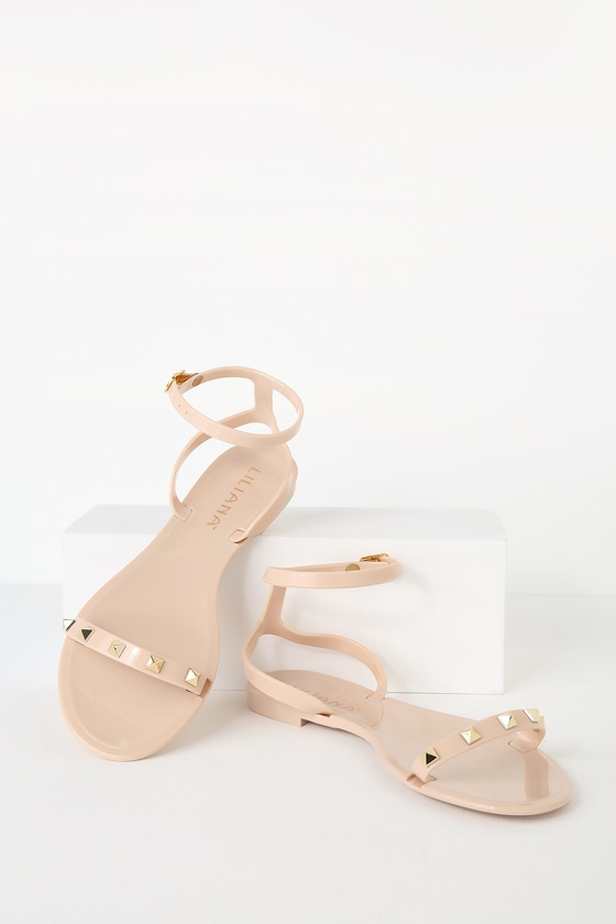 17ba704bc Cute Nude Jelly Sandals - Studded Jelly Sandals - Flat Sandals