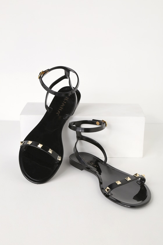 f8b535c8b8a3 Cute Black Jelly Sandals - Studded Jelly Sandals - Flat Sandals