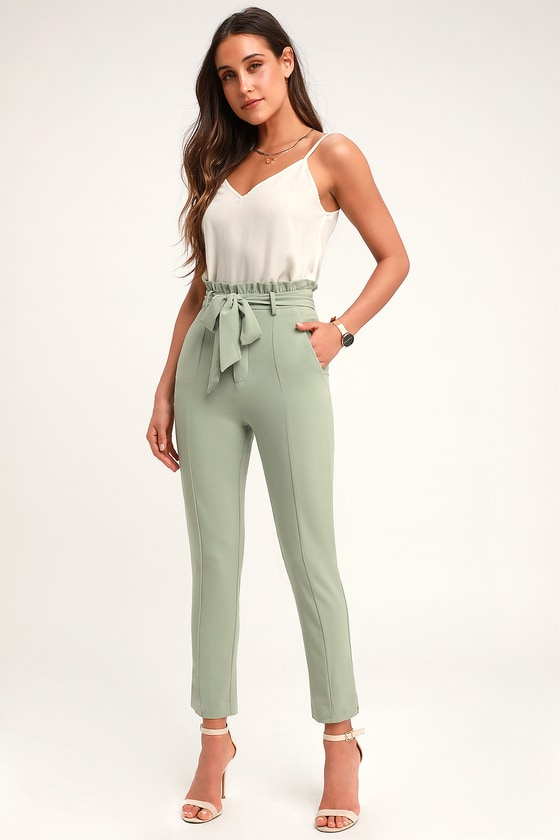 b3161d2158c1a7 Chic Sage Green Trousers - Paper Bag Waist Pants - Cropped Pants