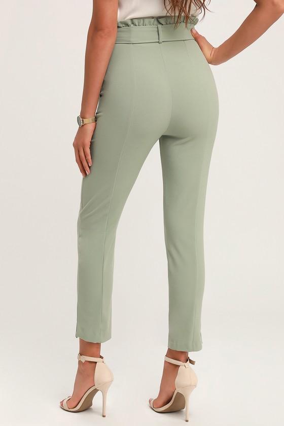 ec79bf4c104a Chic Sage Green Trousers - Paper Bag Waist Pants - Cropped Pants