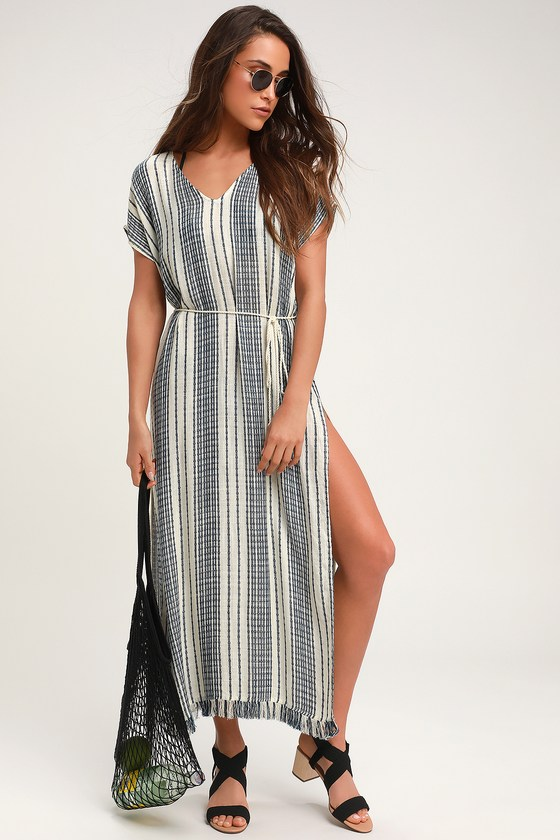 bd5f317ac6 Cute Navy and White Cover-Up - Striped Swim Cover - Maxi Cover