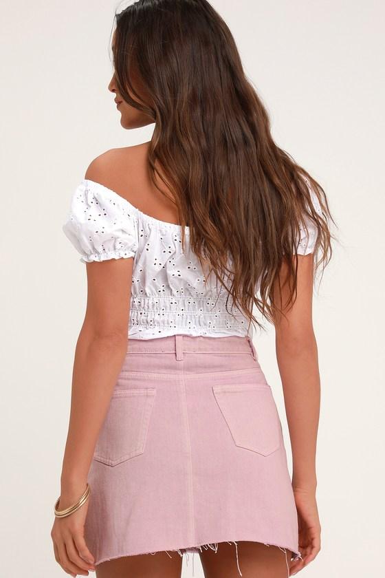 20e3e380ec Cute Lavender Skirt - Denim Skirt - Mini Skirt - Purple Skirt