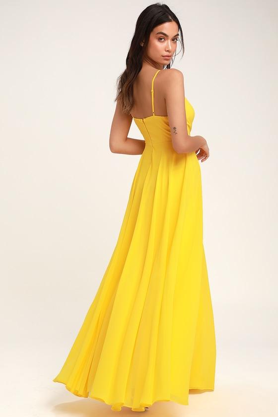 13caf8c269 Lovely Yellow Maxi Dress - Yellow Surplice Bridesmaid Dress
