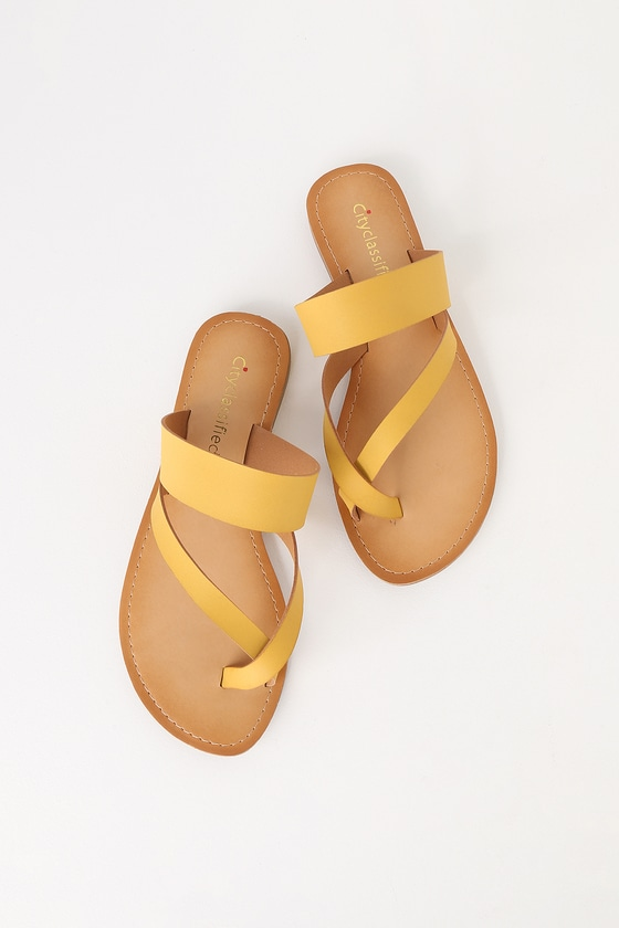 3f78943f80c Cute Mustard Sandals - Yellow Flat Sandals - Toe-Thong Sandals