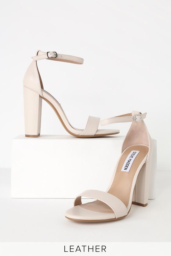 c0a3845b851 Steve Madden Carrson - Leather Ankle Strap Heels - Beige Heels