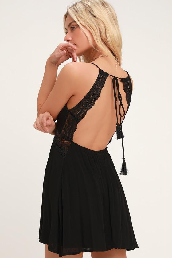 Cute Boho Dress - Lace Dress - Black Dress - Backless Dress
