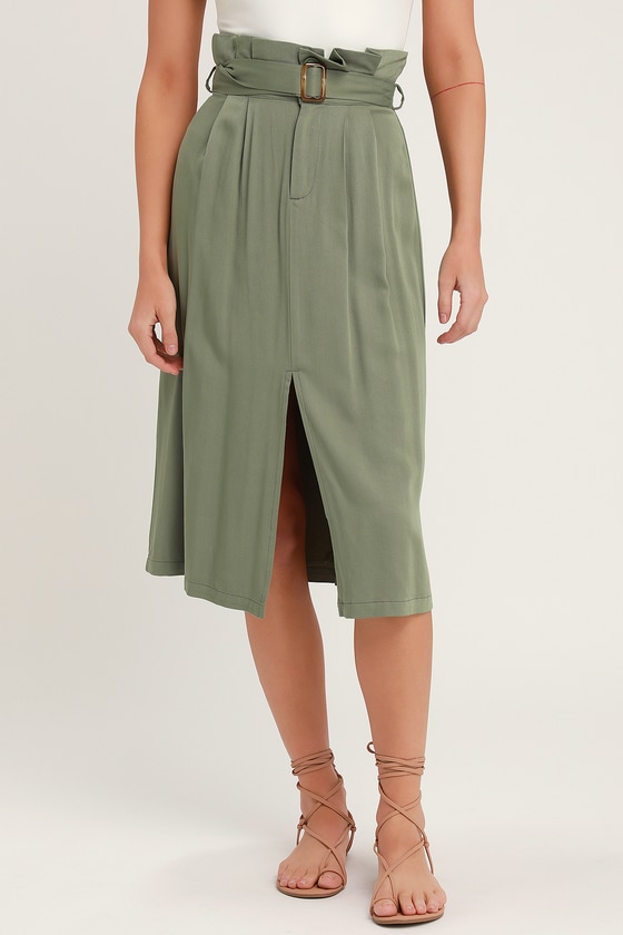 89bafca0b9 Cute Paper Bag Waist Skirt - Midi Skirt - Green Midi Skirt