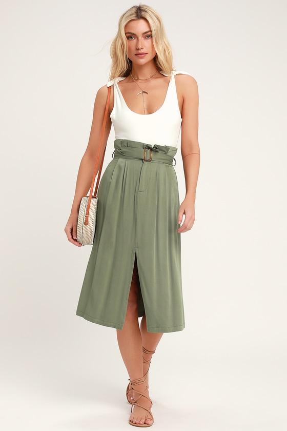 6c8c8d6b38 Cute Paper Bag Waist Skirt - Midi Skirt - Green Midi Skirt