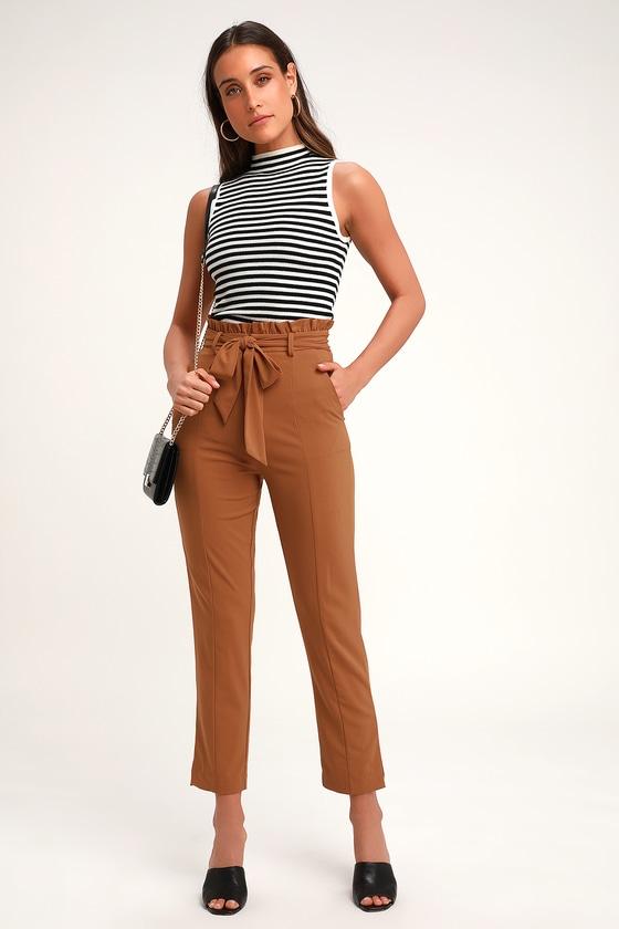 9f1c7752774 Chic Camel Paper-Bag Waist Pants - Camel Trousers - Tan Pants