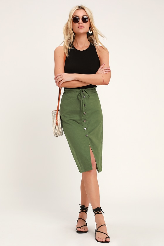 674e7d3ebc7c1 Cute Olive Green Midi Skirt - Button Front Midi Skirt