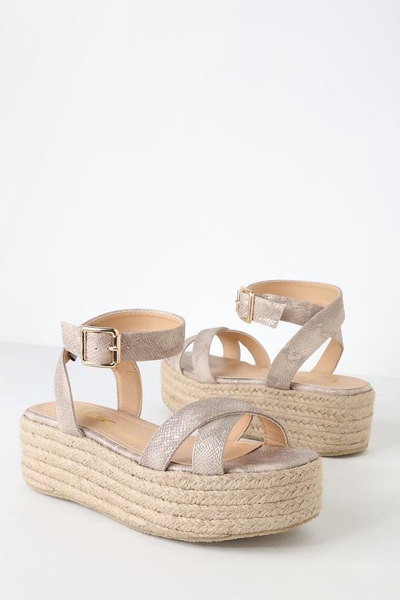 823657a6423 Beige Snake Espadrilles - Espadrille Sandals - Platform Sandals
