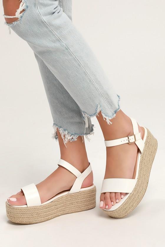 32678d77bf5 Cute White Sandals - Espadrille Sandals - Flatform Sandals