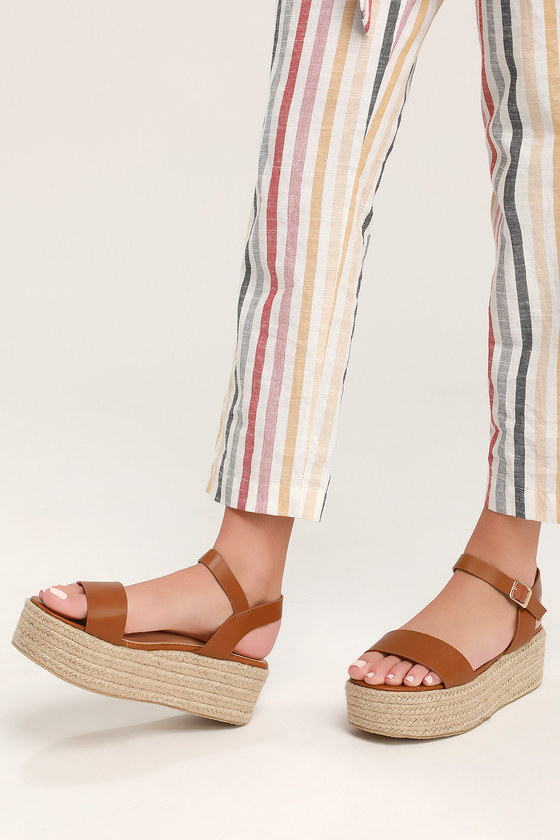 433deae6594 Cute Tan Sandals - Espadrille Sandals - Flatform Sandals
