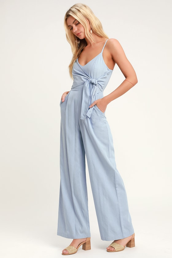 1067bf99629e Chic Chambray Jumpsuit - Light Blue Jumpsuit - Wide Leg Jumpsuit