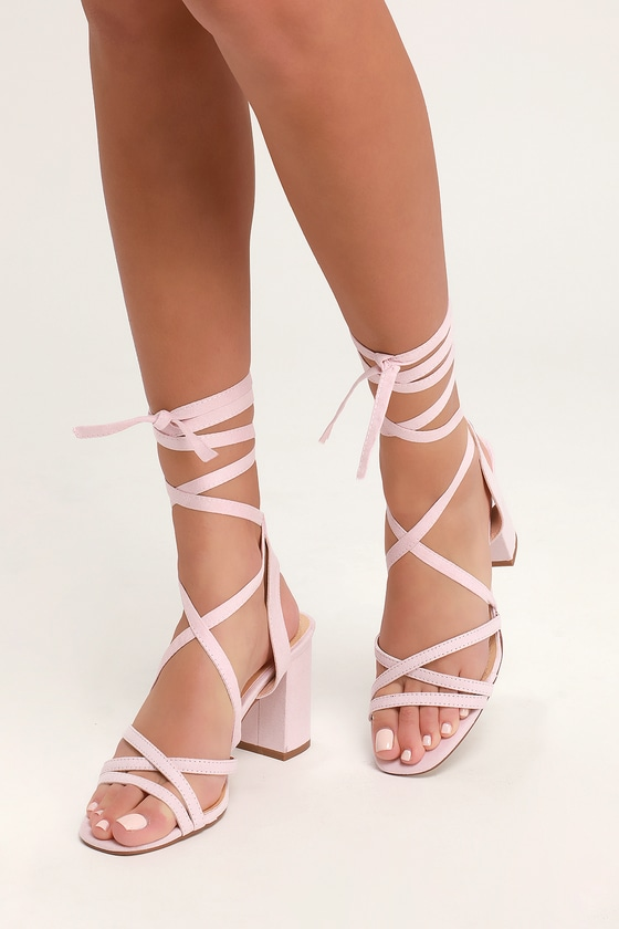 0b0d268bbd Cute Lace-Up Heels - Blush Suede Heels - Vegan Suede Heels