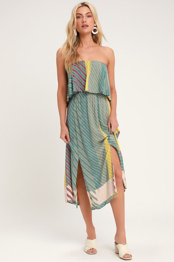 906177208cd2f3 O Neill Koi Dress - Sage Green Multi Striped Dress - Midi Dress
