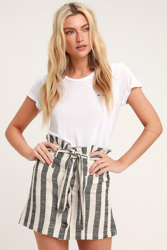 1df6724d2 Cute Striped Skirt - Paper Bag Waist Skirt - Button Front Skirt