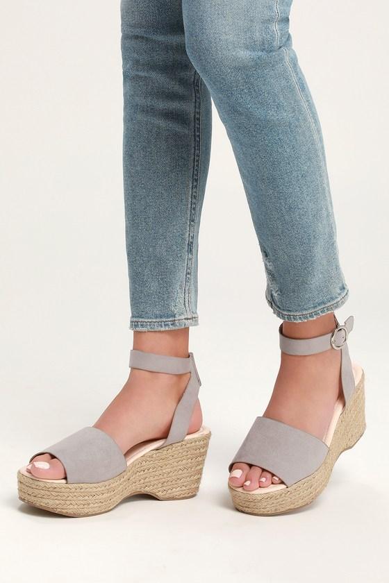 4a8d84227d7 Cute Grey Sandals - Espadrille Sandals - Platform Espadrilles