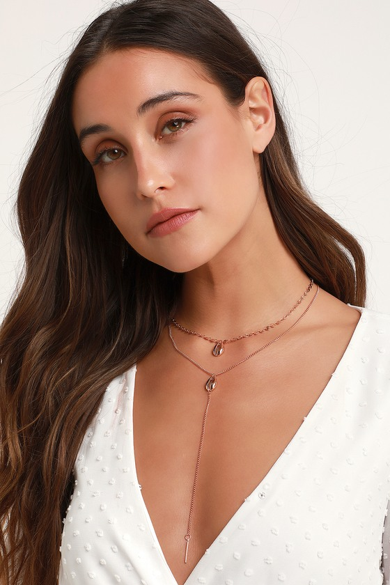 Just Beachy Rose Gold Cowrie Shell Layered Necklace - Lulus