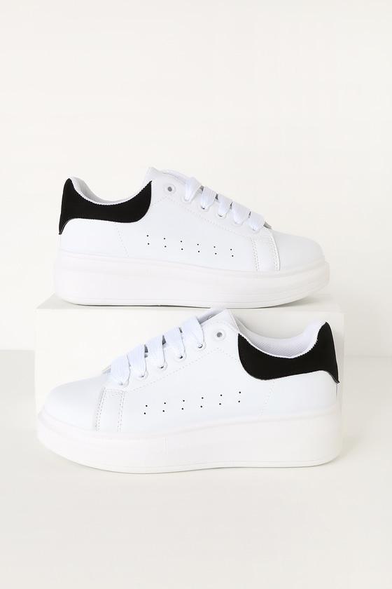 best service d5452 222b0 Urbani White and Black Platform Sneakers