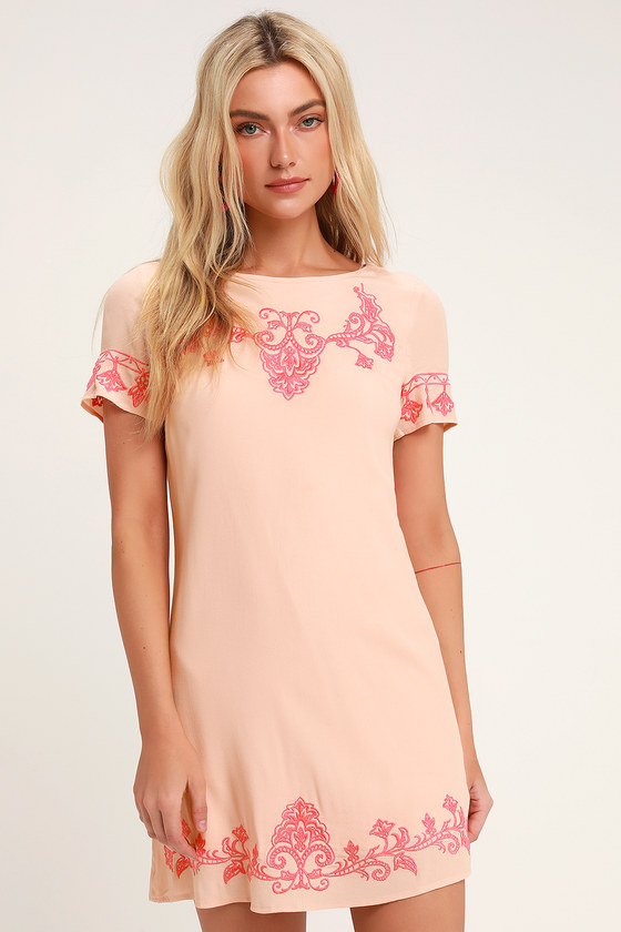 Tale To Tell Light Coral And Pink Embroidered Shift Dress by Lulus