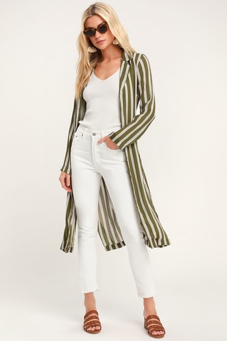 168ca9b71ee Cool As Can Be Olive Green Striped Duster Robe