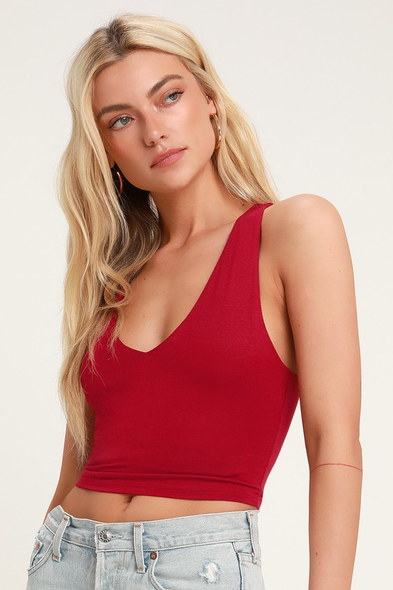 2ed81cdd883b6 Sexy Red Crop Top - Sleeveless Crop Top - V-Neck Crop Top