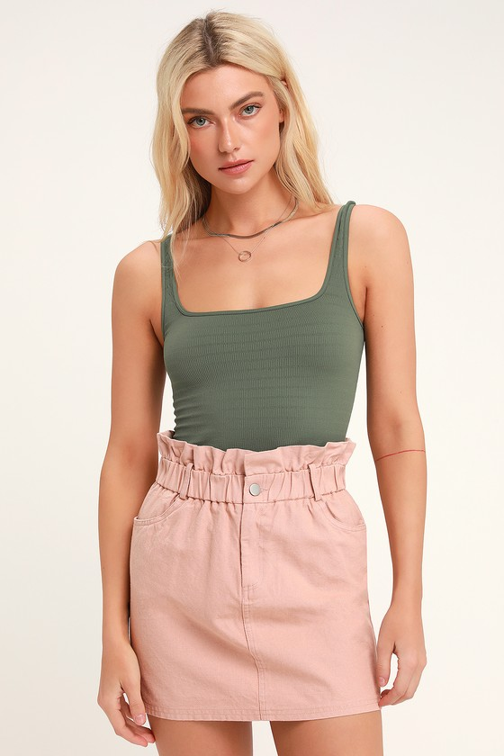 4949bb2c93 Cute Blush Denim Mini Skirt - Paper Bag Waist Skirt - Denim Skirt