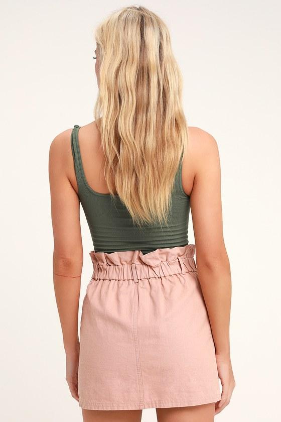bd400a0e41 Cute Blush Denim Mini Skirt - Paper Bag Waist Skirt - Denim Skirt