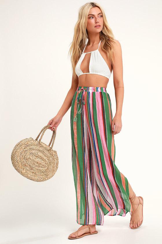 14a599ffebc Cute Rainbow Pants - Green Striped Pants - Swim Cover-Up Pants