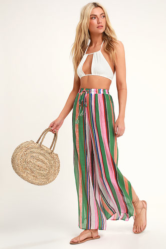 324470617a Eternal Vacation Green Multi Striped Swim Cover-Up Pants