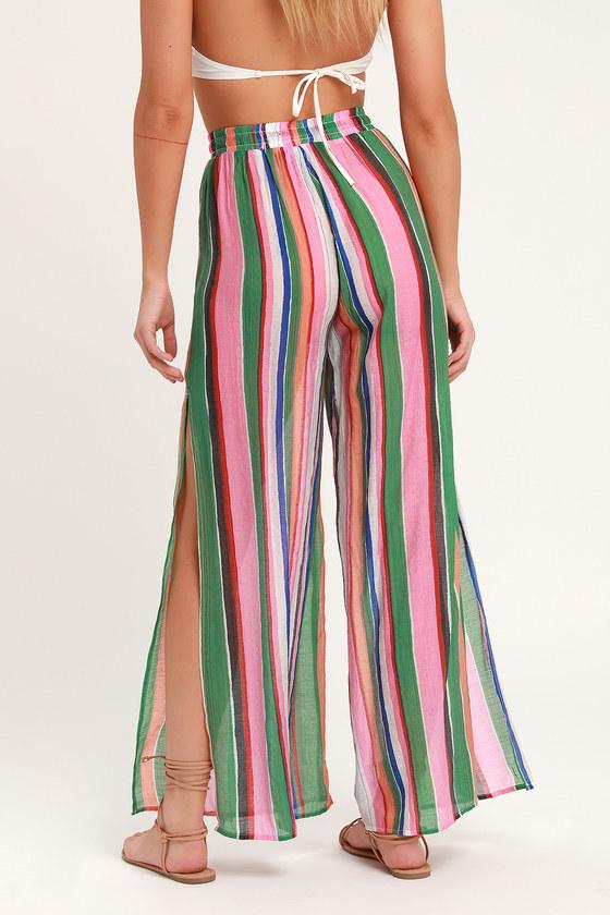 cff01659c37 Cute Rainbow Pants - Green Striped Pants - Swim Cover-Up Pants