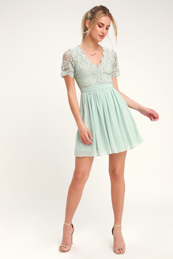 132929beff8 Lovely Mint Lace Dress - Lace Skater Dress - Mint Short Dress