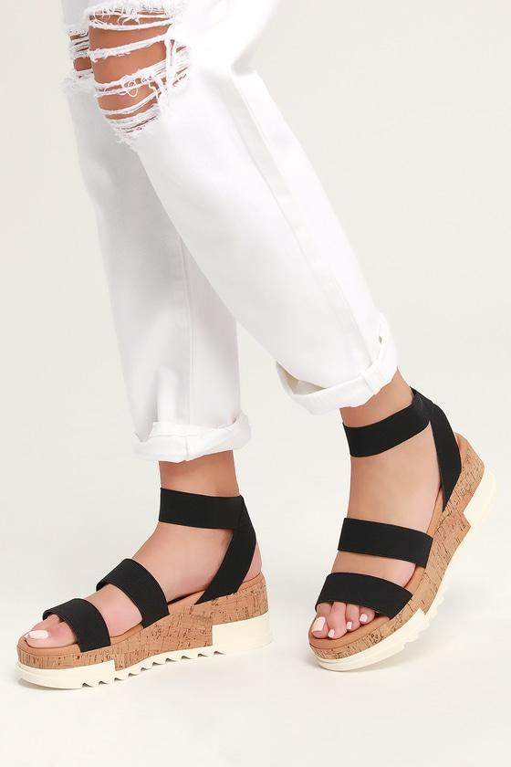 8888c1c896b8 Steve Madden Bandi - Black Sandals - Cork Sole Sandals