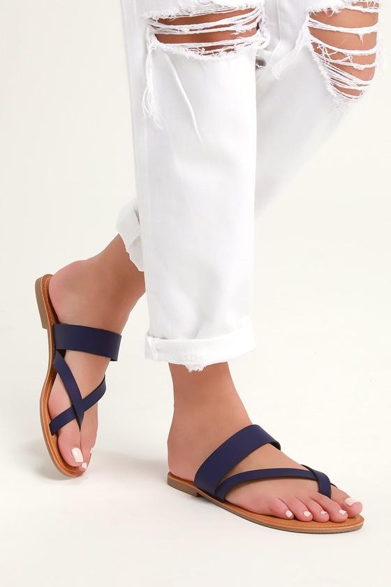 4f16fbe35 Cute Navy Sandals - Black Flat Sandals - Toe-Thong Sandals