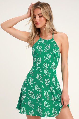 a684d0871bb Cherished Moment Green and White Print Lace-Up Skater Dress