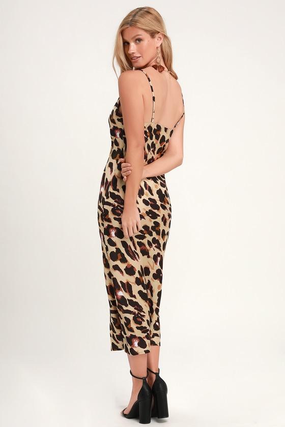 47f7a84b799d0 Sexy Leopard Print Dress - Satin Midi Dress - Midi Slip Dress