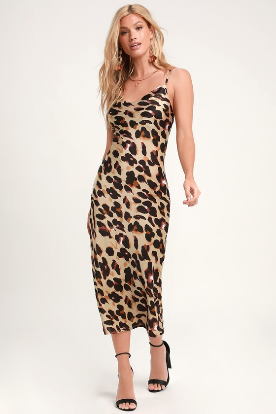 13507a90cab Sexy Leopard Print Dress - Satin Midi Dress - Midi Slip Dress