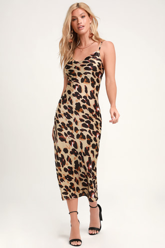 4dc2c2af8b Less Is Roar Taupe Leopard Print Satin Midi Slip Dress