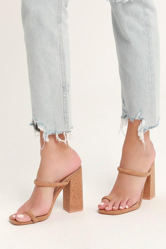 0065bd5296b Sexy Cork Heels - Toe Loop Heels - Slide On Heels - Block Heels
