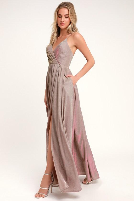 eae0deb0687ca Glam Lavender Gown - Glitter Gown - Metallic Maxi Dress