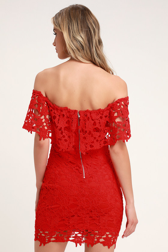9d70fc0e6f00 Sexy Red Lace Dress - Crocheted Lace Dress - Lace Bodycon Dress