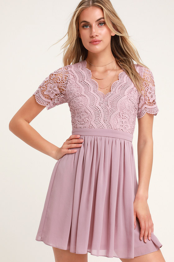 Angel in Disguise Dusty Lavender Lace Skater Dress