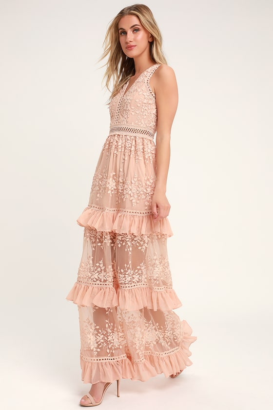 13ab8492cd546 Lovely Embroidered Maxi - Tiered Maxi Dress - Blush Maxi Dress