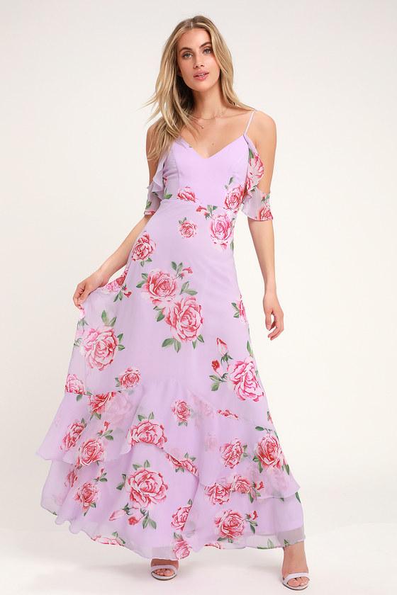 Floral Print Cold Shoulder Lavender Maxi Dress
